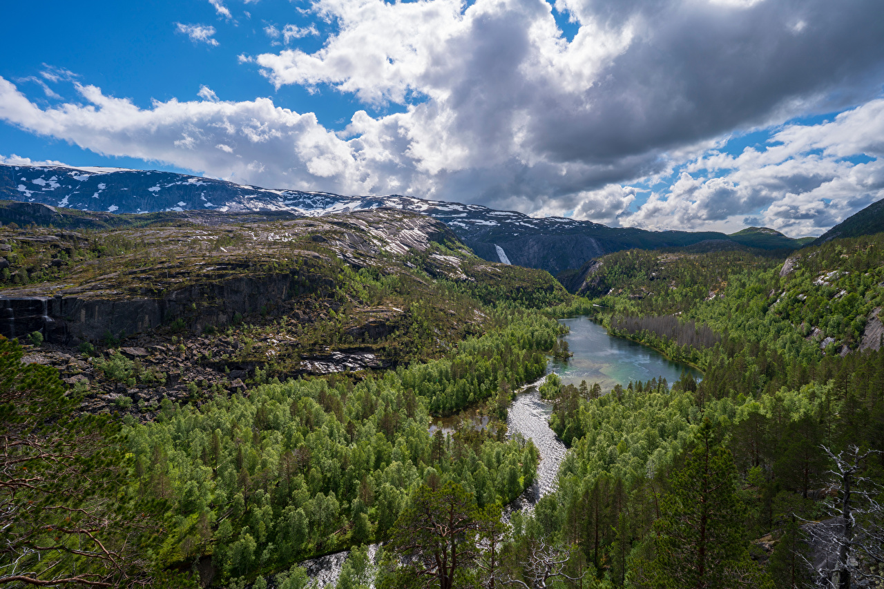 Desktop Wallpapers Norway Rago National Park Cliff Nature Mountains park Forests landscape photography river Clouds Rock Crag mountain Parks forest Scenery Rivers