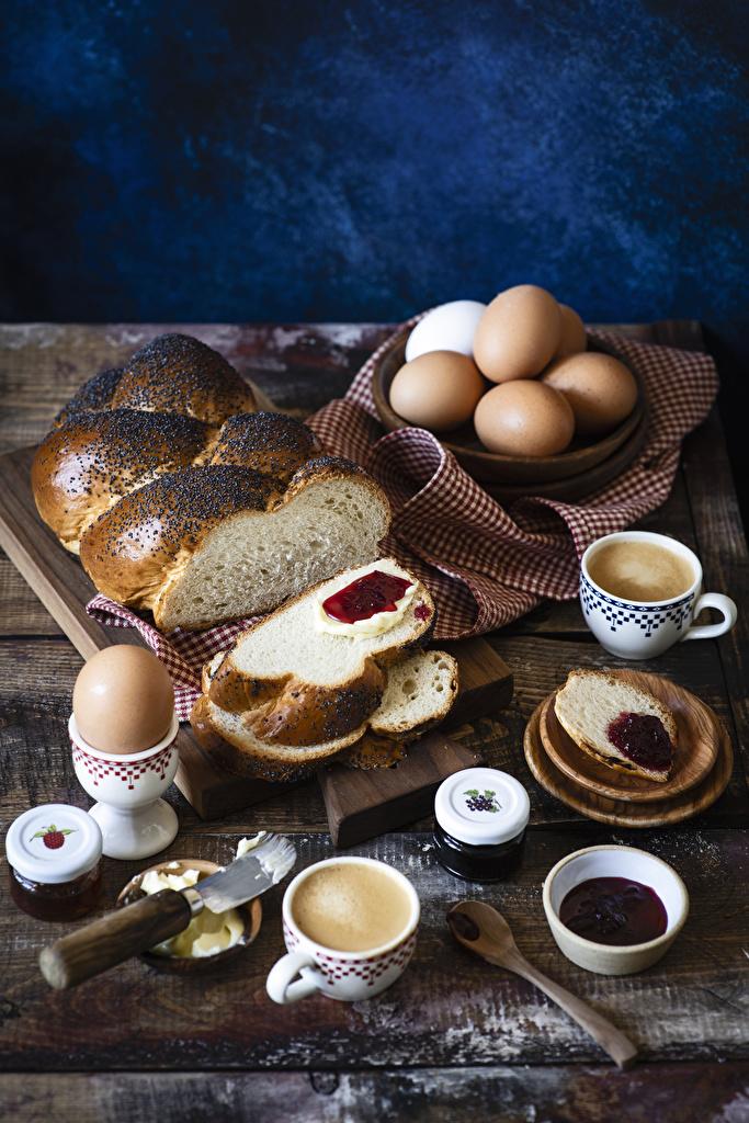Desktop Wallpapers egg Jam Coffee Breakfast Cappuccino Bread Cup Food Pastry  for Mobile phone Eggs Varenye Fruit preserves baking