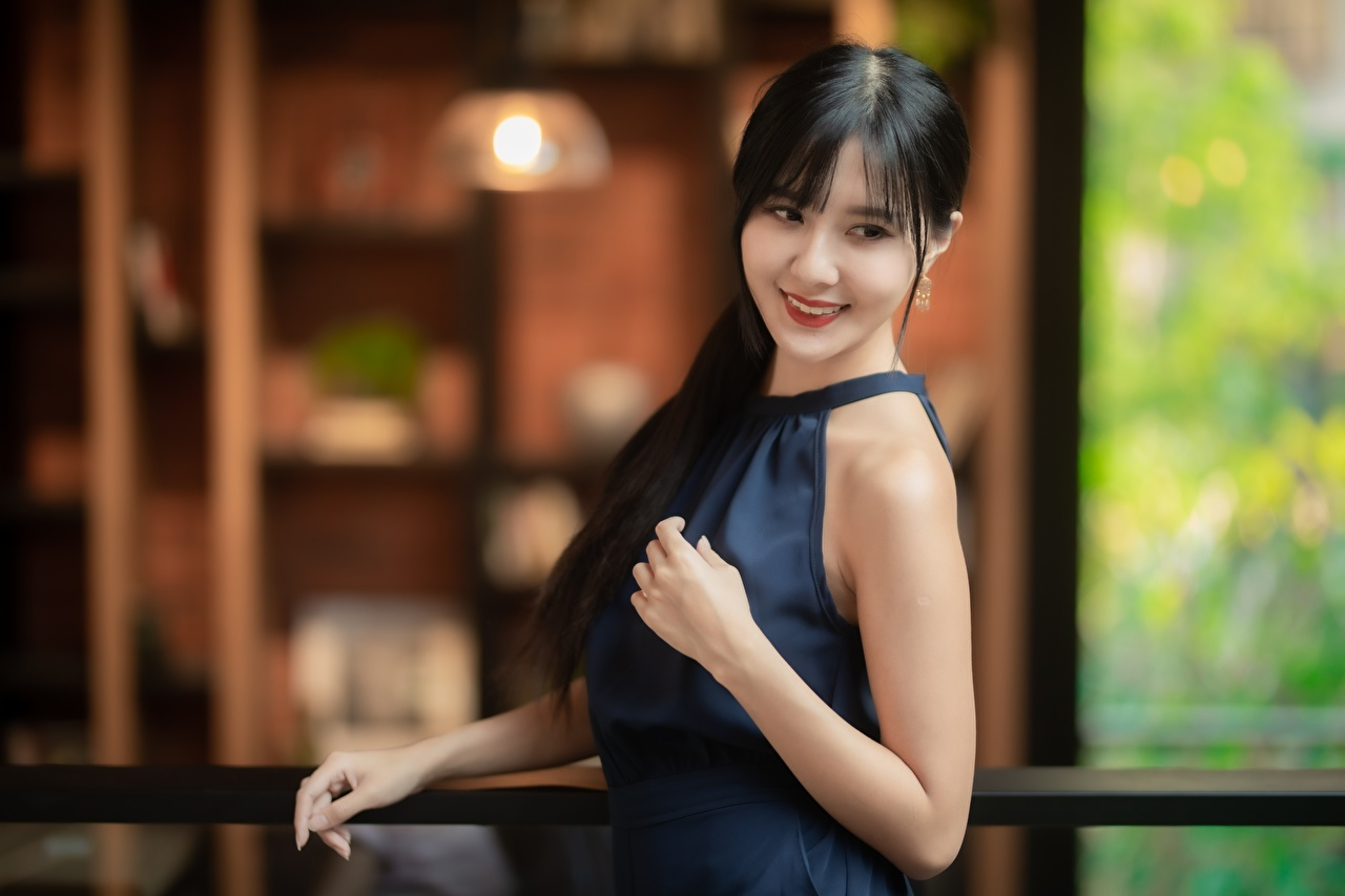 Photo Brunette girl Smile Bokeh Pose sweet Girls Asian Hands blurred background Cute posing lovely pretty female young woman Asiatic