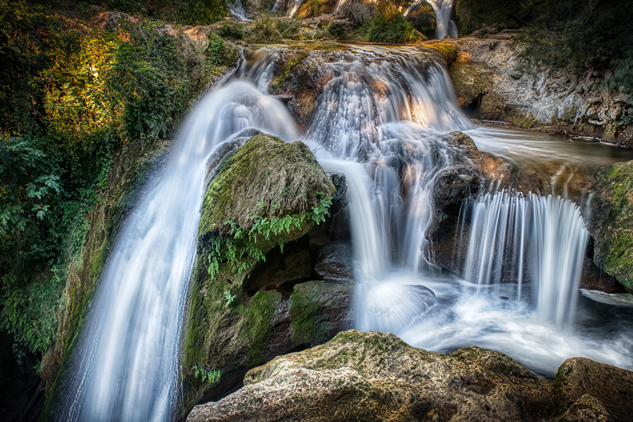 Photo France Cliff Stream Nature Waterfalls Moss Crag Rock Creek brook Creeks Streams
