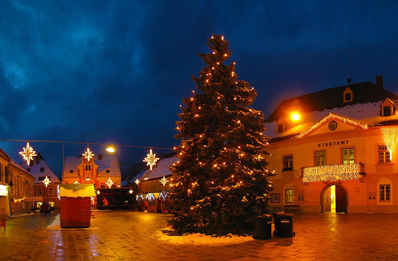 österreich Weihnachtsbaum.Foto österreich Hdri Christbaum Himmel Stadtstraße Nacht Städte