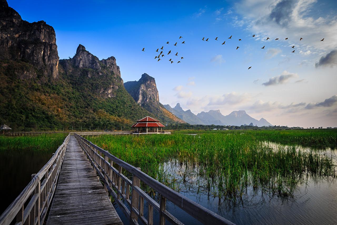 Image Thailand Bridges Lake Cities bridge