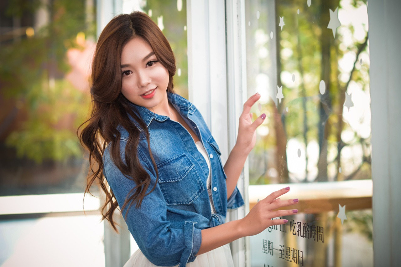 Photos Brown haired Bokeh Jacket female Asian Hands blurred background Girls young woman Asiatic