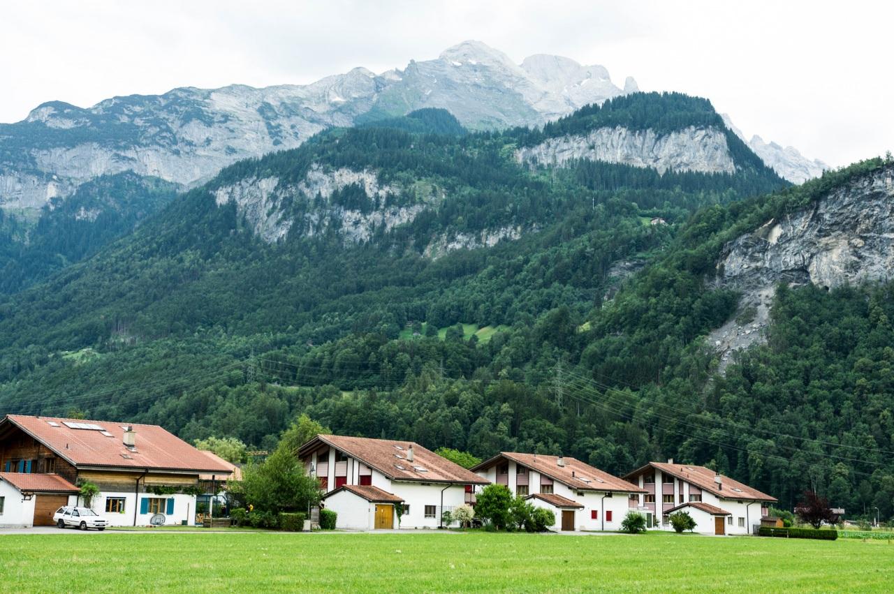 Фото Швейцария Meiringen valley гора лес Дома Города Городки Горы Леса город Здания