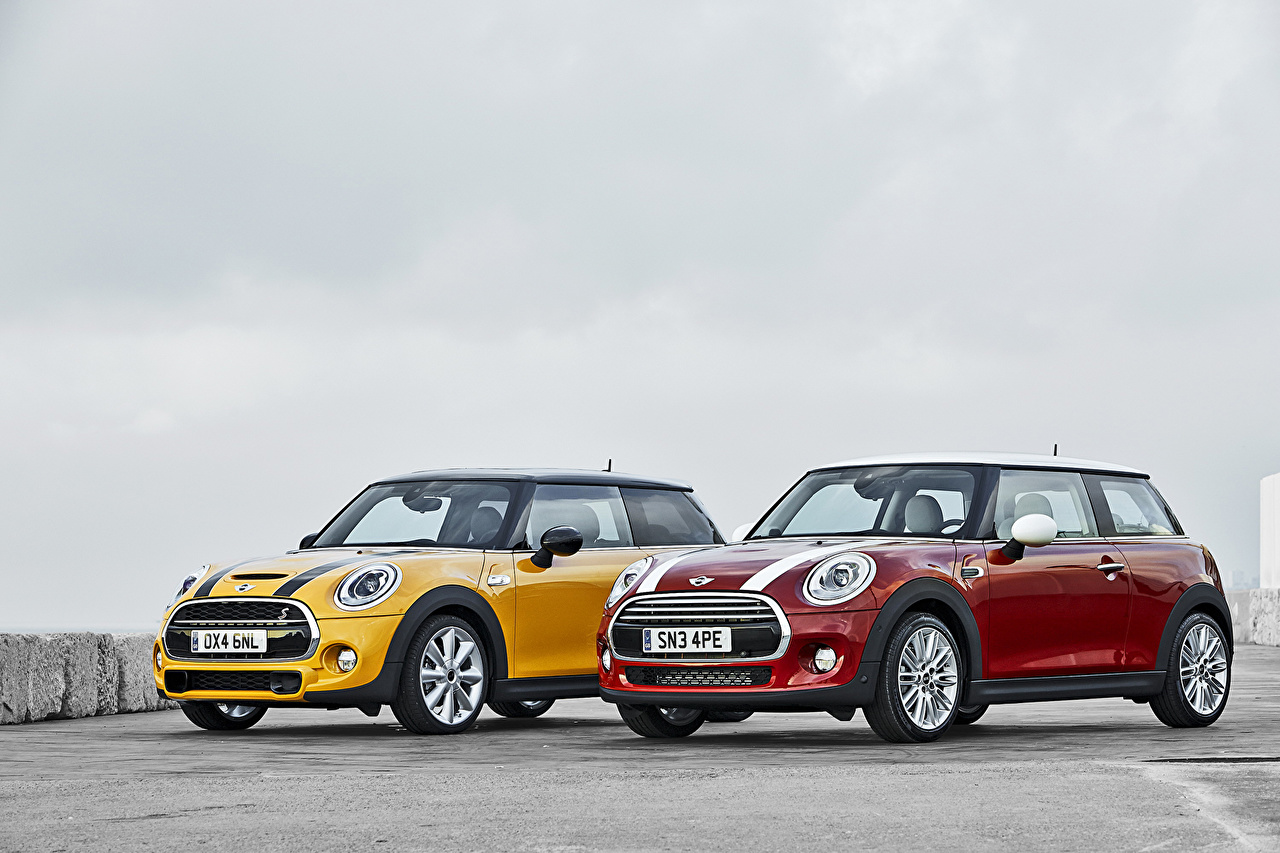 Photos Mini Tuning 2014 Cooper S 2 Red Yellow automobile Two Cars auto