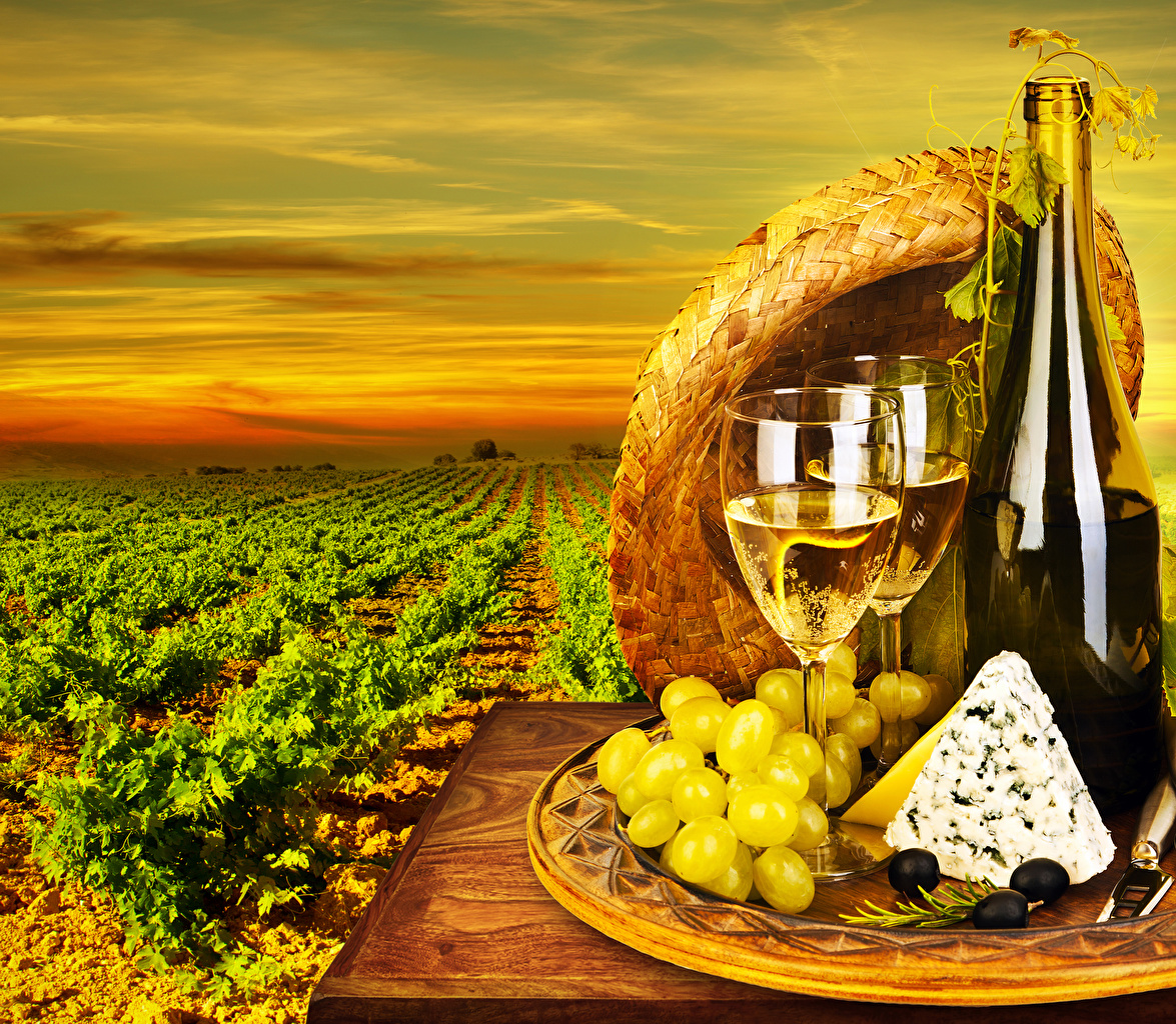 Photos Wine Olive Cheese Grapes Fields Food Bottle Stemware bottles