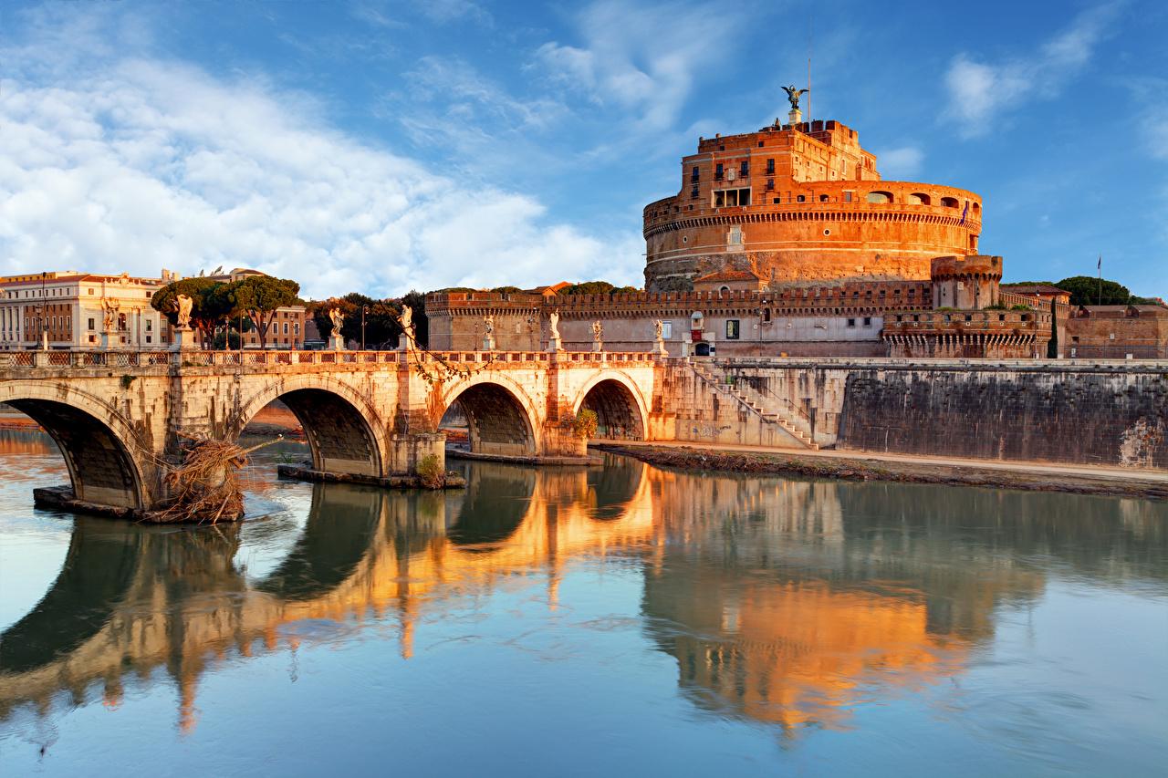 Photos Rome Italy Castel Sant'Angelo, Tiber bridge Castles river Cities Sculptures castle Bridges Rivers