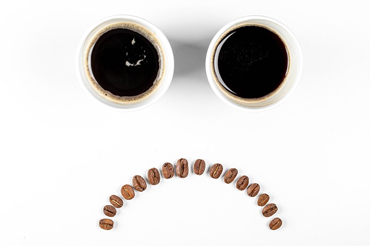 Desktop Wallpapers Smilies gloomy Two Coffee Grain Cup Food White background sad sorrow Sadness 2