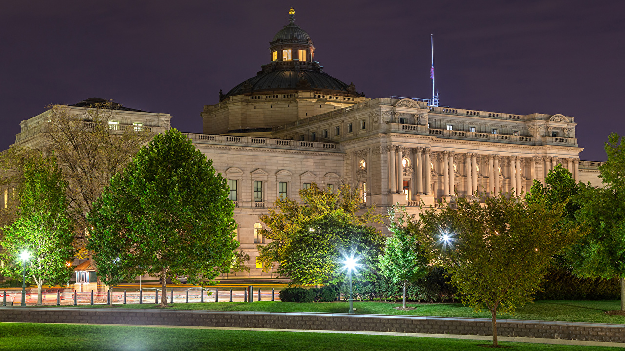 Picture Washington USA Thomas Jefferson Building Evening Trees Cities Houses