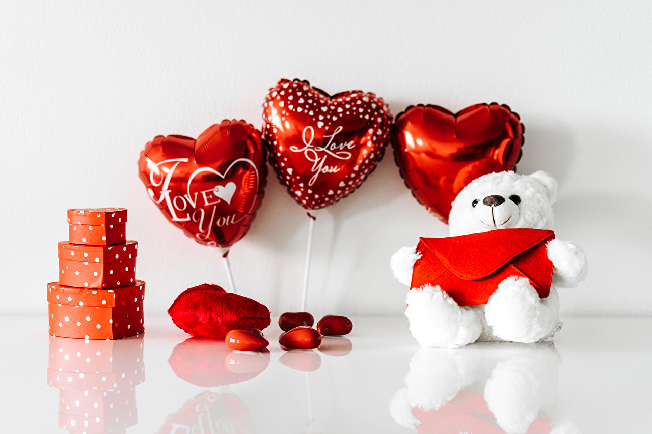 Images Valentine's Day Heart Toy balloon Gifts Teddy bear