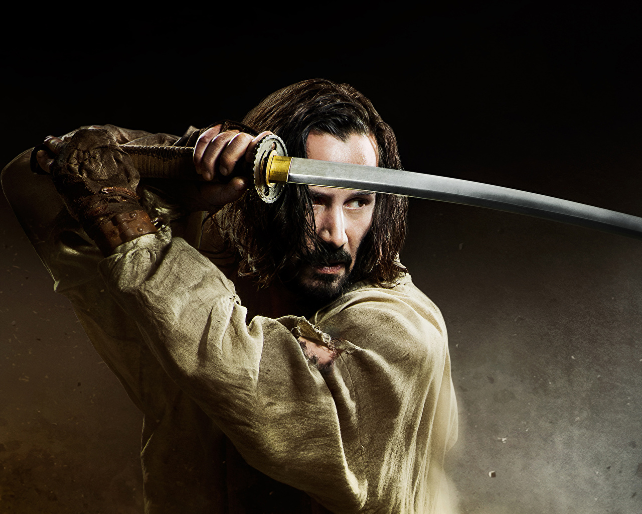 keanu reeves holding a sword photo and wallpaper hd