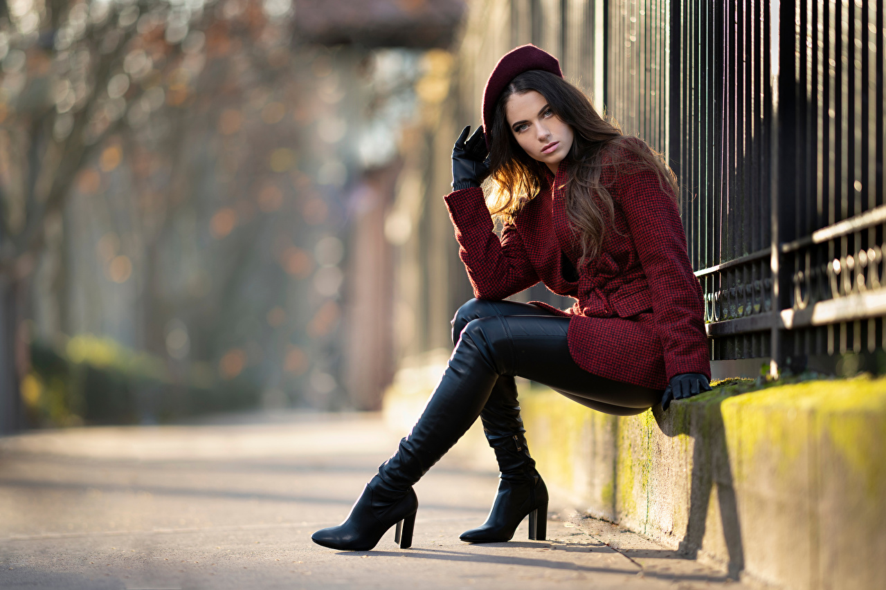 Image Glove Wearing boots Ambre Beret overcoat female sit Glance Coat Girls young woman Sitting Staring