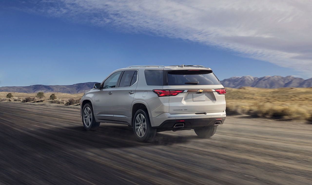 Photos Chevrolet CUV High Country, Traverse, 2021 White Roads driving Cars Metallic Back view Crossover Motion riding moving at speed auto automobile