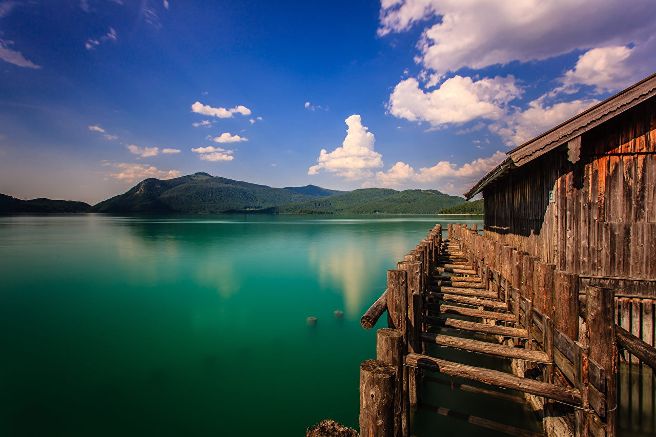 Pictures Bavaria Alps Germany Walchensee, boathouse Nature Mountains Lake mountain