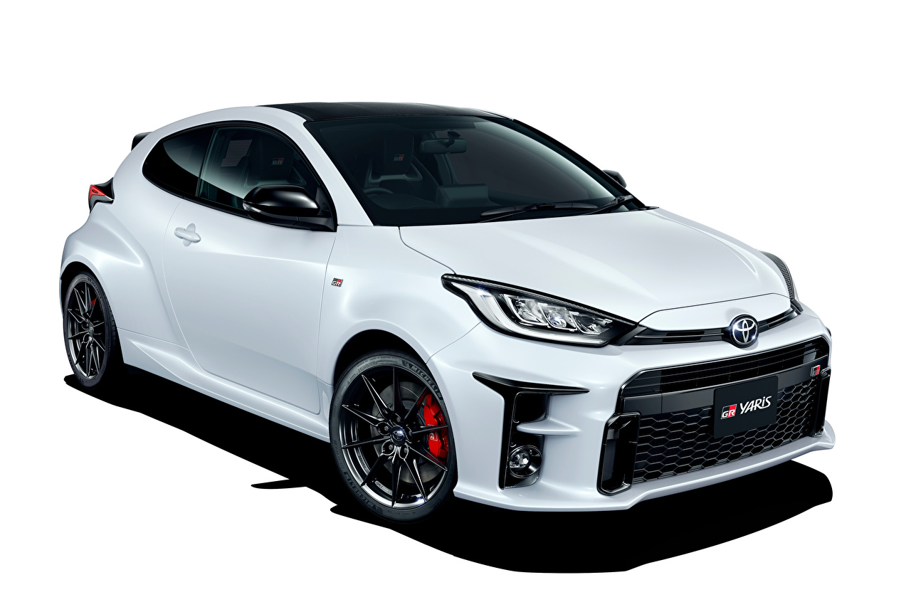 Photo Toyota GR Yaris RZ High Performance, JP-spec, 2020 White Cars Metallic White background auto automobile