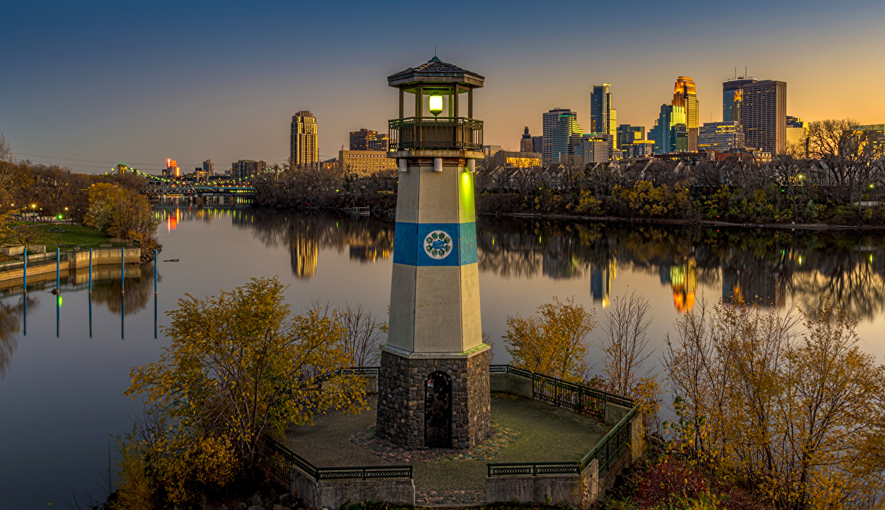 Photo USA Minneapolis Minnesota Lighthouses Sunrises and sunsets river Cities Building sunrise and sunset Rivers Houses