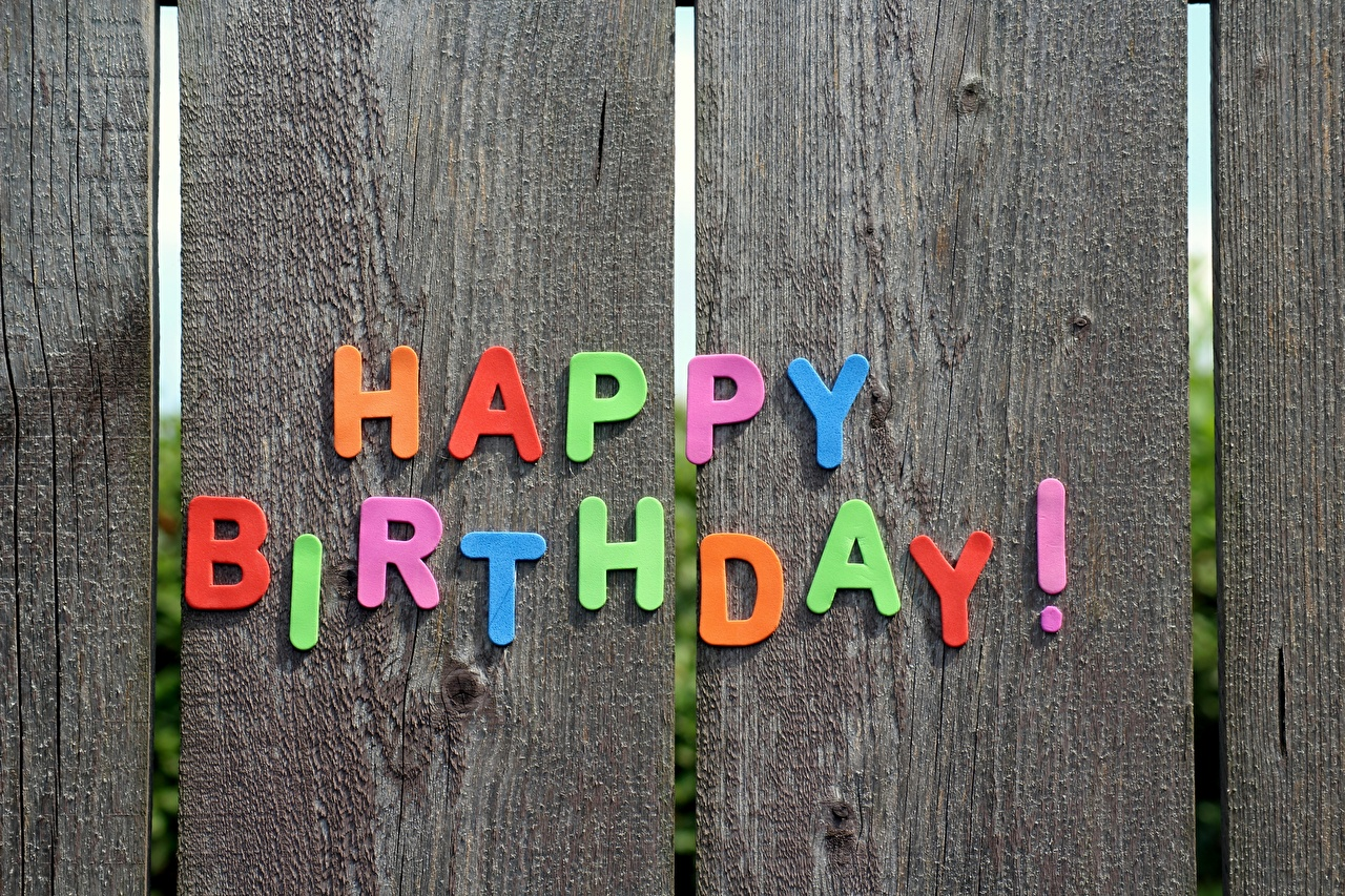 Wallpaper Birthday English text Fence Wood planks lettering Word - Lettering boards