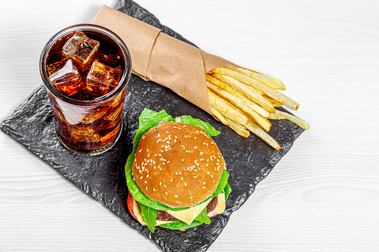 Photos Coca-Cola Ice Hamburger French fries Fast food Highball glass Food drink finger chips Drinks