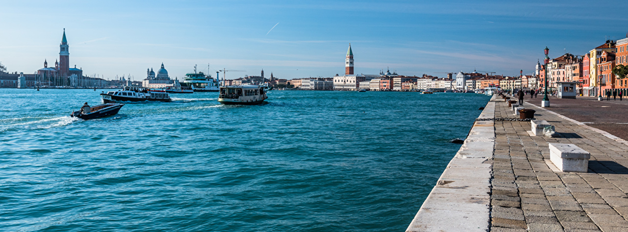 Picture Venice Italy panoramic Riverboat Waterfront Houses Cities Panorama Building