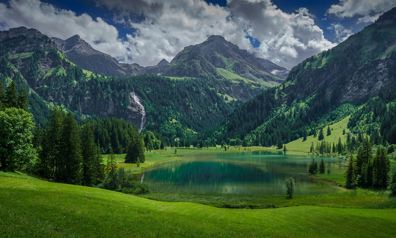 Desktop Wallpapers Alps Switzerland Lauenen, Bern Nature Spruce mountain Lake Scenery Mountains landscape photography