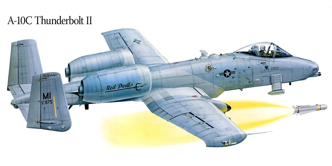 Tapety Samolot szturmowy A-10 Thunderbolt II Samoloty Rysowane Lotnictwo samolot