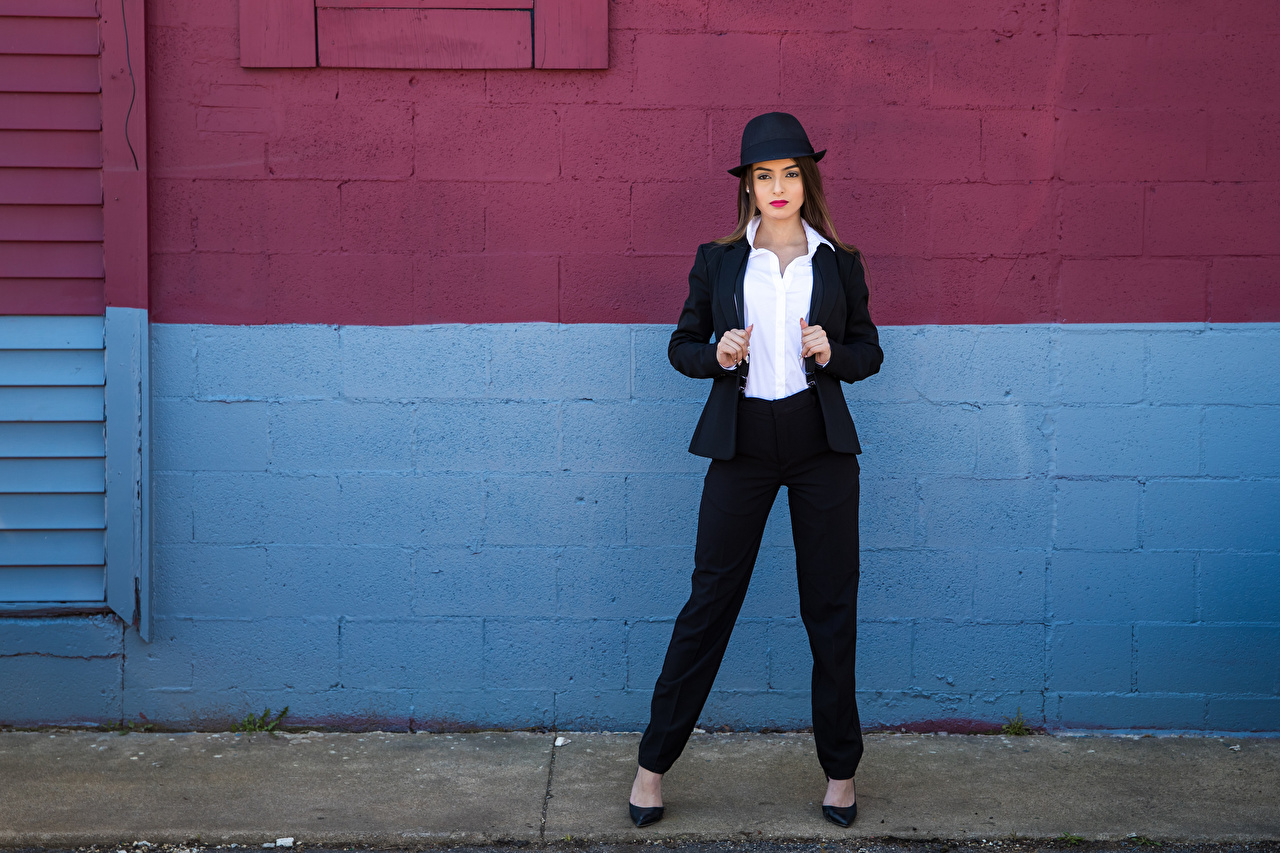 Pictures Alexis Contreras Hat Girls Suit Glance female young woman Staring