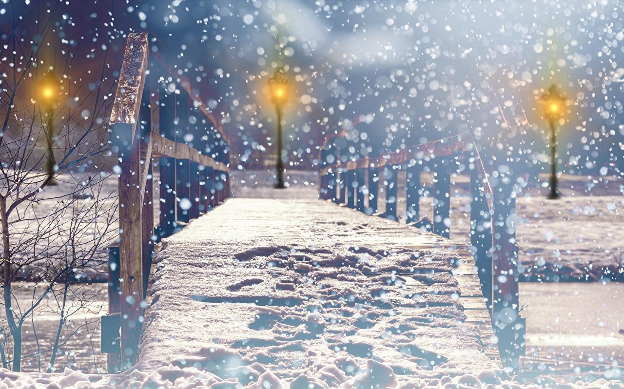 Image blurred background Winter Bridges Snow Parks night time Street lights Cities Bokeh bridge park Night