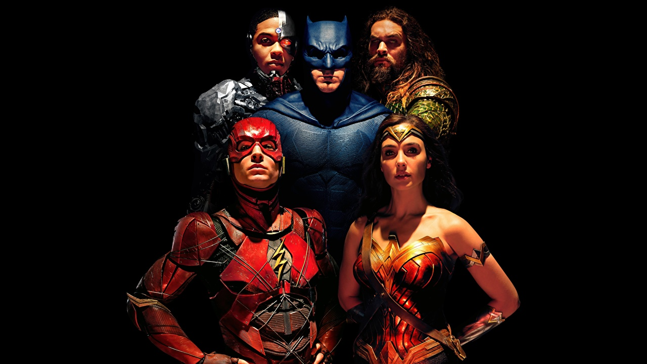 Foto Justice League 2017 Gal Gadot Ben Affleck Flash Held Batman Held Wonder Woman Held Krieger Jason Momoa, Ezra Miller, Ray Fisher Film Prominente Schwarzer Hintergrund
