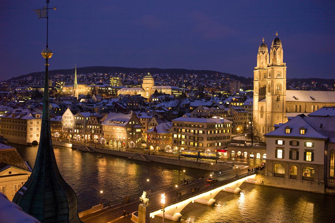 Desktop Wallpapers Zurich Switzerland Bridges river night time Street lights Houses Cities bridge Night Rivers Building