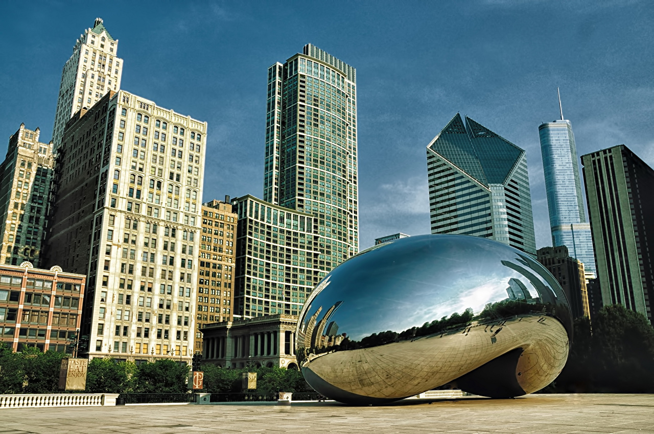 Pictures Chicago city USA Millennium Park Cloud Gate Street Skyscrapers Cities Building Houses