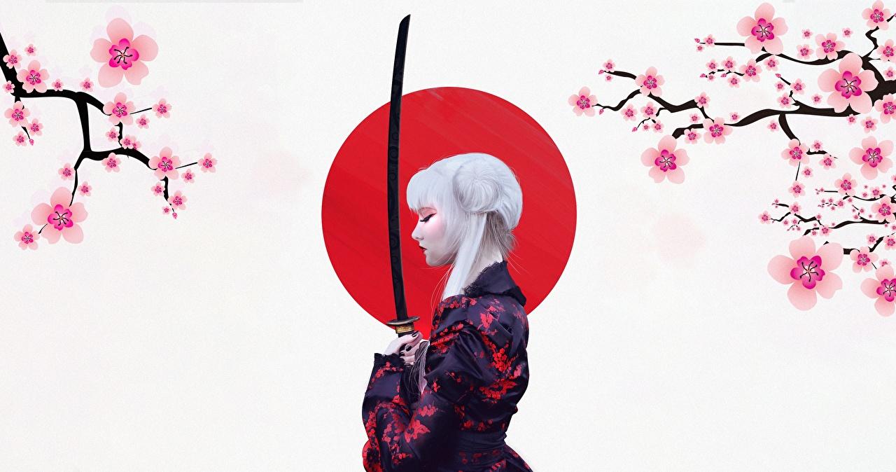 Desktop Wallpapers Sabre Blonde girl Japanese Katana by Abrar Khan Kimono young woman Girls female