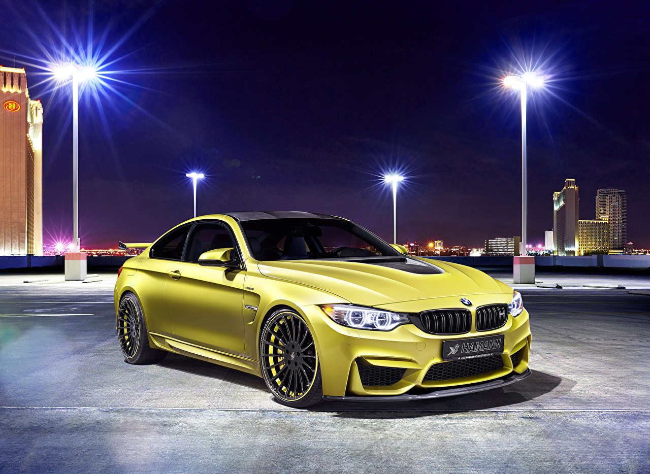 Images BMW Tuning 2014 M4 (Hamann) Yellow auto Street lights Cars automobile