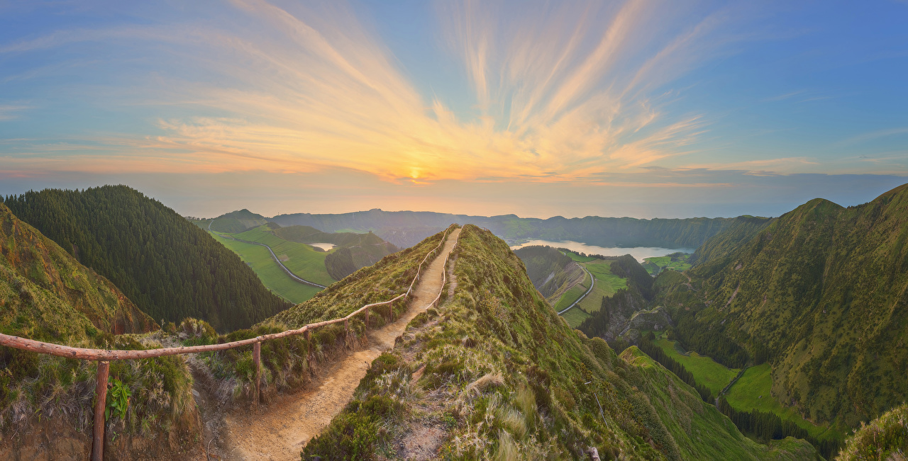 Picture Portugal Azores Trail Nature mountain Sunrises and sunsets Moss path Mountains sunrise and sunset