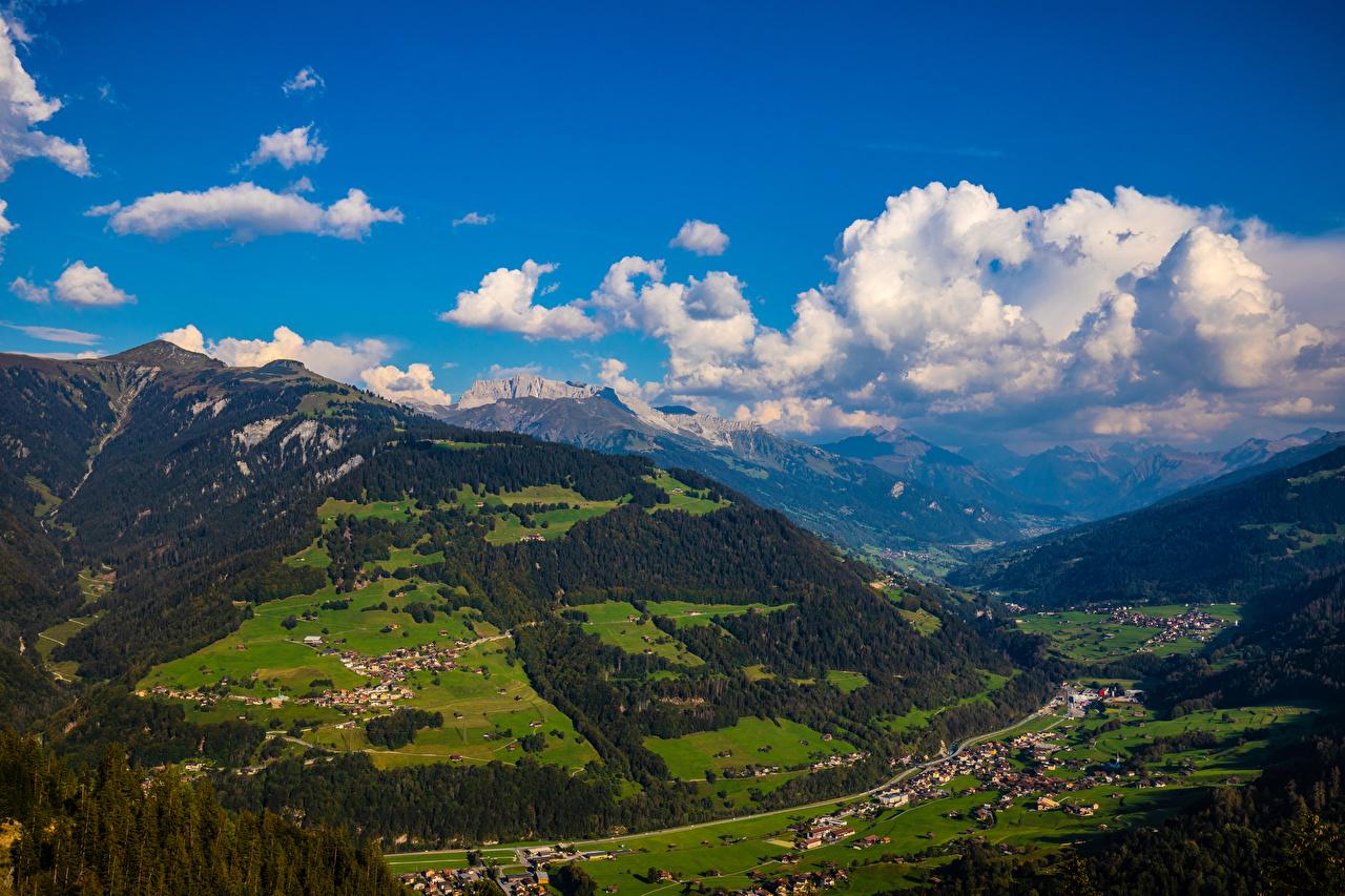 Foto Alpen Schweiz Furna Berg Natur Wolke Gebirge