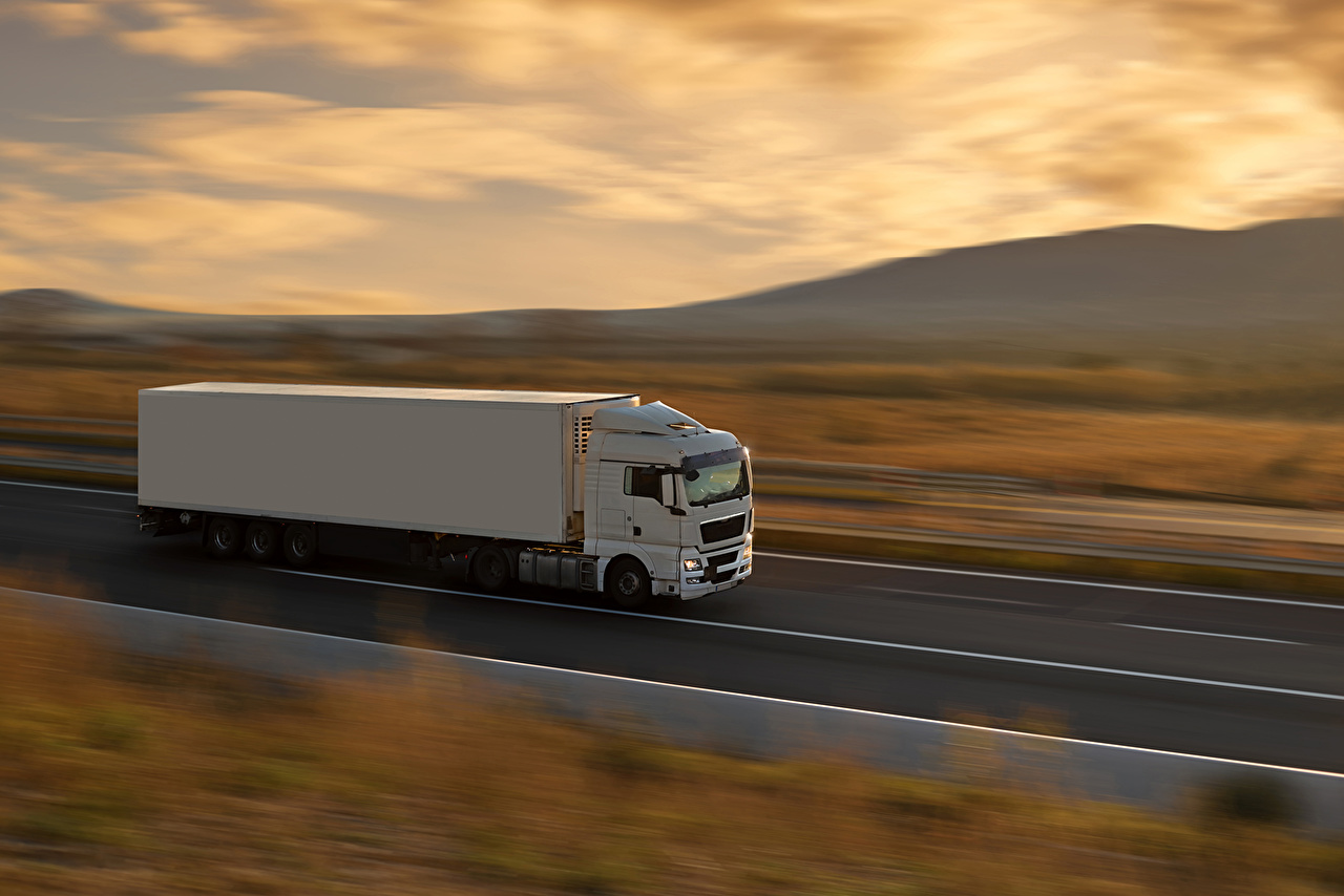 Image lorry White driving automobile Trucks moving riding Motion at speed Cars auto