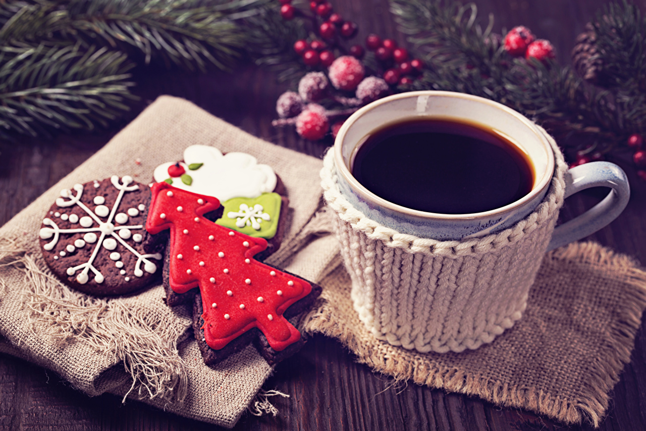 Wallpaper New year Coffee Christmas tree Cup Food Cookies Design Christmas New Year tree