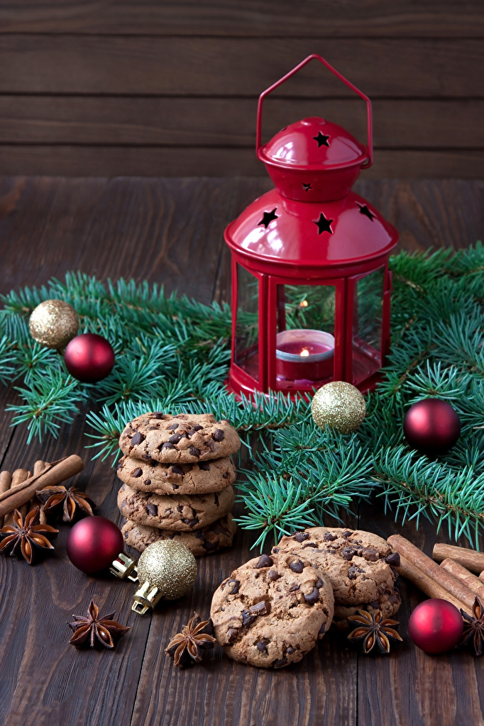 Wallpaper Christmas Lantern Star anise Illicium Food Balls Cookies Candles Branches  for Mobile phone New year