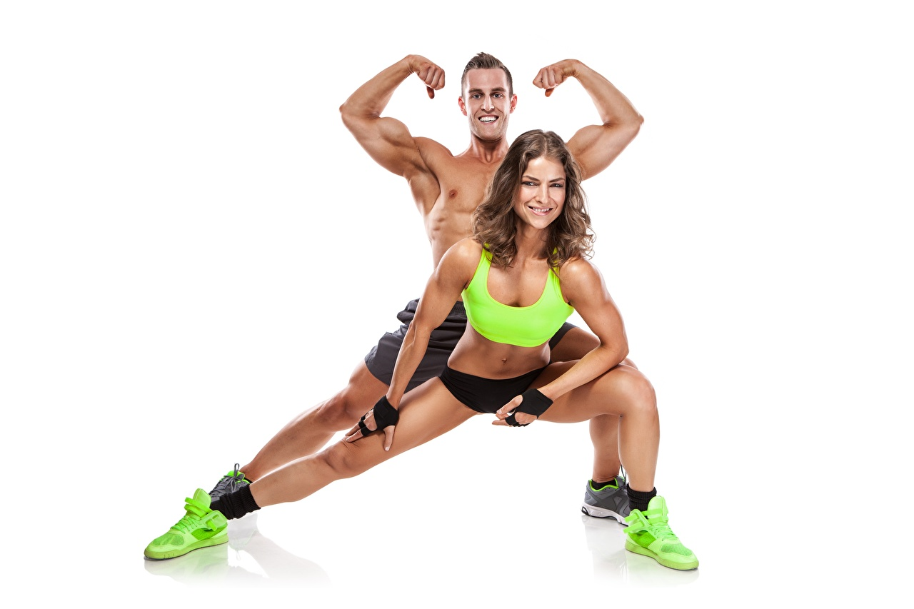 Image Man posing Fitness Sport young woman White background Men Pose Girls sports female athletic