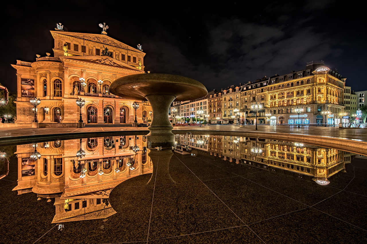 Image Frankfurt Germany Town square Old Opera reflected Night Cities Building Reflection night time Houses