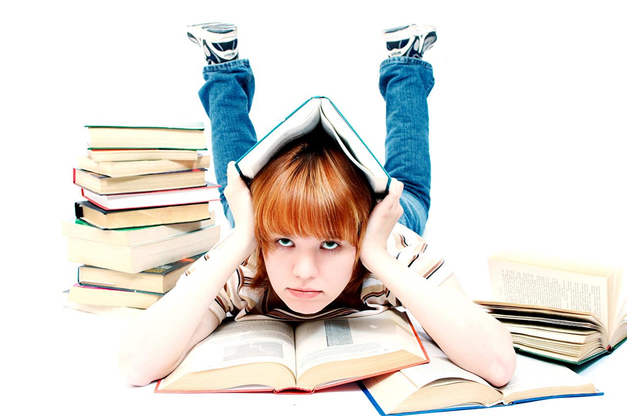 Pictures Little girls School Children Book Hands Glance White background Staring