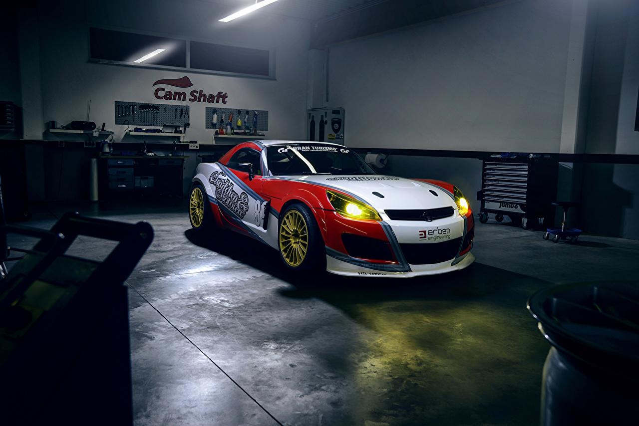 Desktop Wallpapers Opel Tuning GT (Maedchen and Motoren) Headlights automobile Cars auto