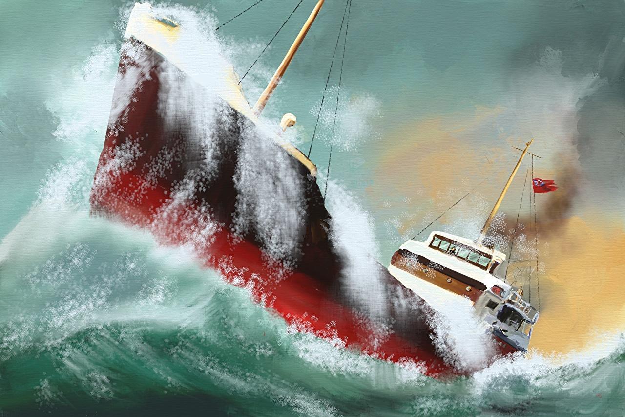 Fondos de Pantalla Pintura Barco Mar Olas Salpicaduras descargar ...