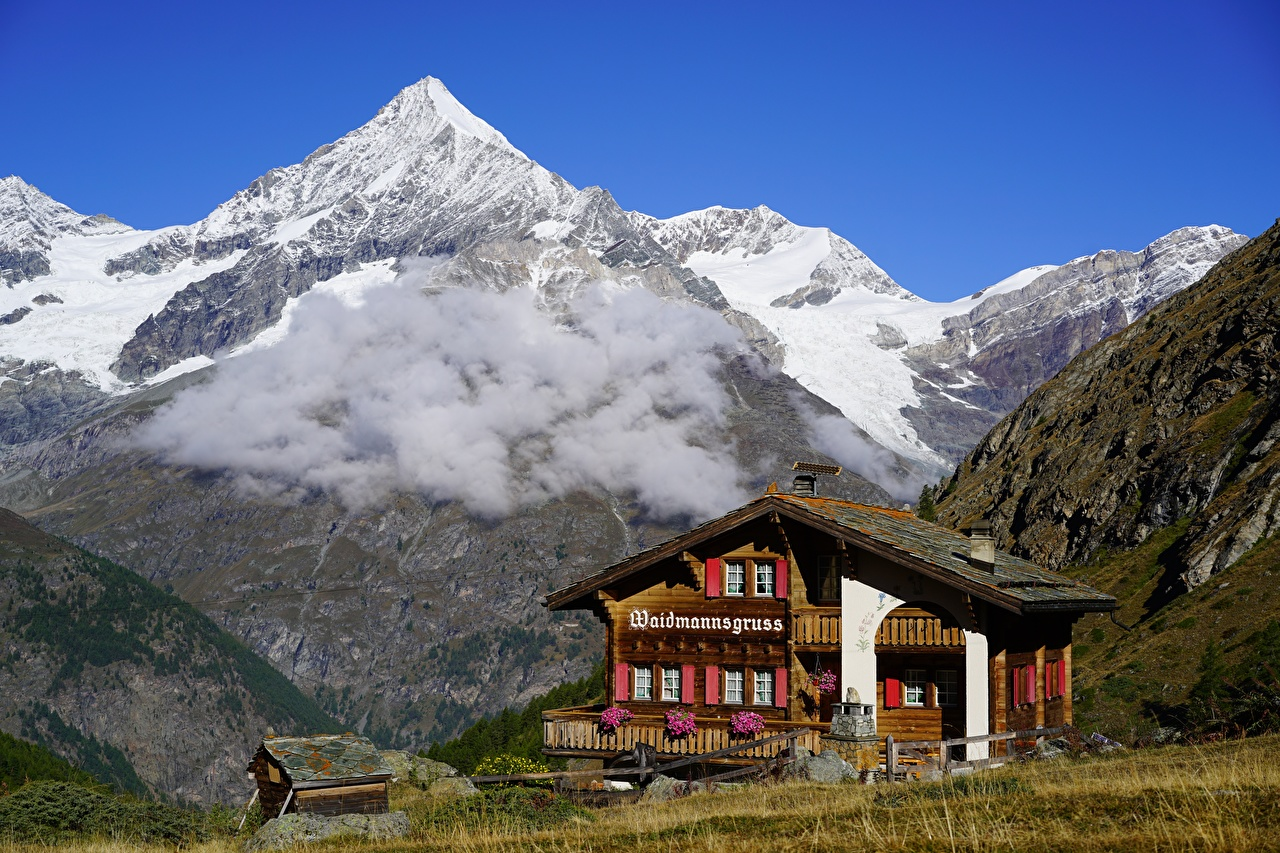 Picture Alps Switzerland Weisshorn, Valais Nature Mountains Snow Houses Clouds mountain Building