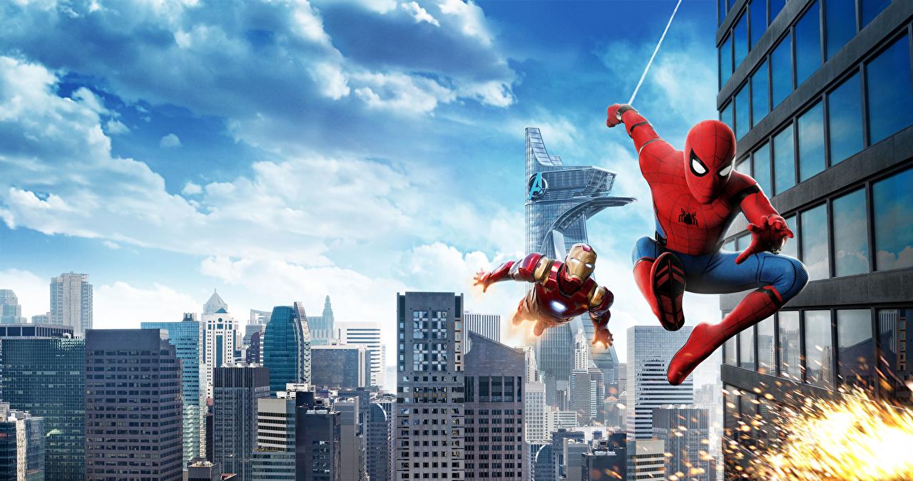 Tapeta Iron Man (film) Spider-Man: Homecoming Bohaterowie komiksów Spider-Man superbohater film superbohaterów Filmy