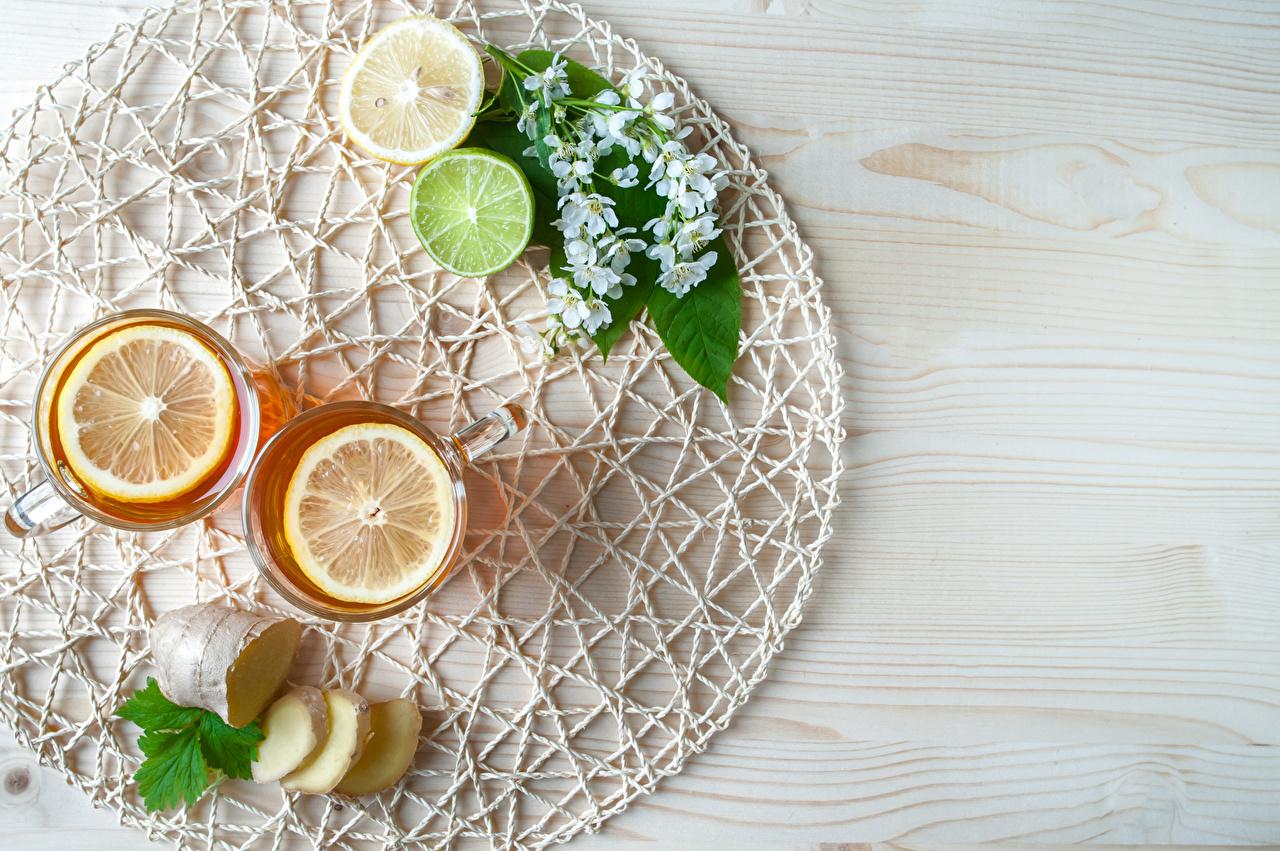 Bilder von Tee Limette Zitrone Trinkglas das Essen Bretter Zitronen Lebensmittel