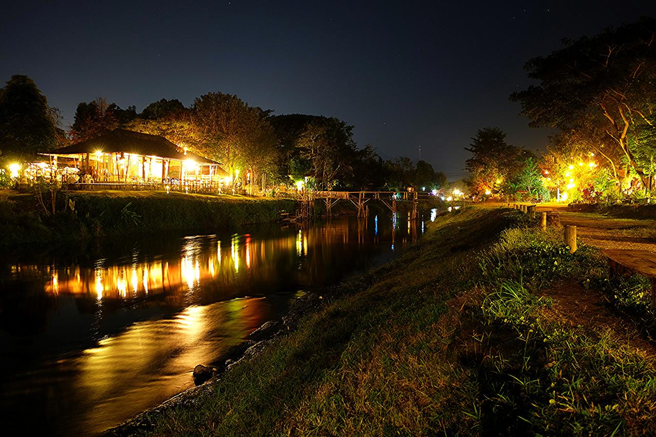Wallpaper Thailand Pai Nature Coast Rivers night time Street lights river Night
