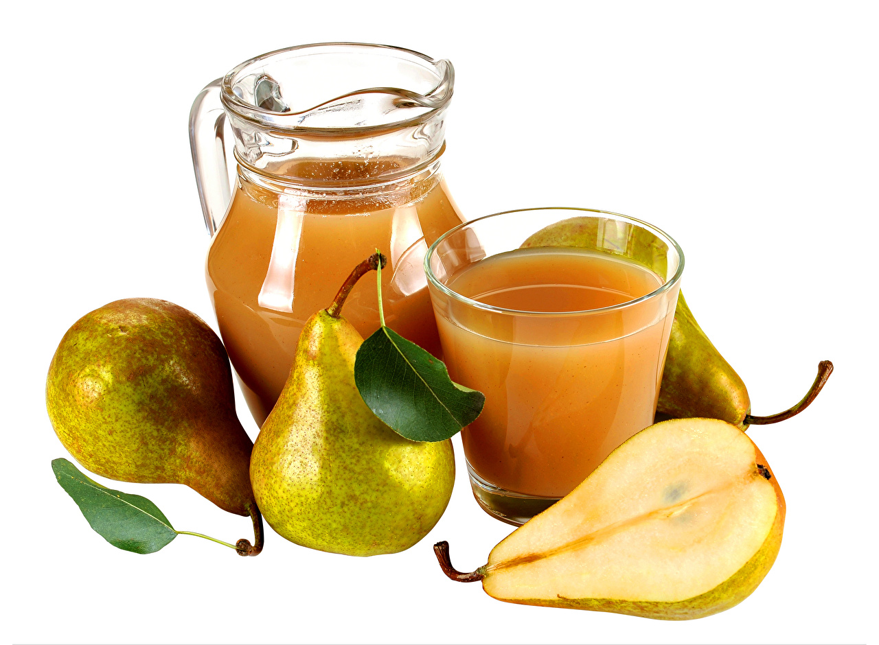 Photo Juice Pears Jug container Highball glass Food White background jugs pitcher