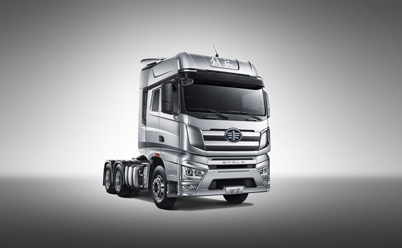 Desktop Wallpapers lorry FAW, Jiefang J7, Eagle, 6x4 automobile Gray background Trucks Cars auto