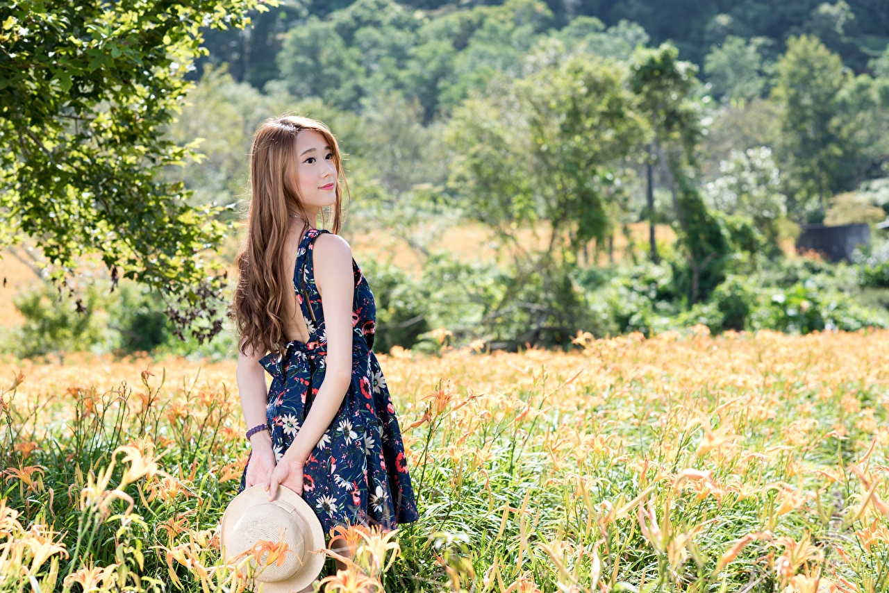 Photos Brown haired Bokeh Hat young woman Asian Grass Dress blurred background Girls female Asiatic gown frock