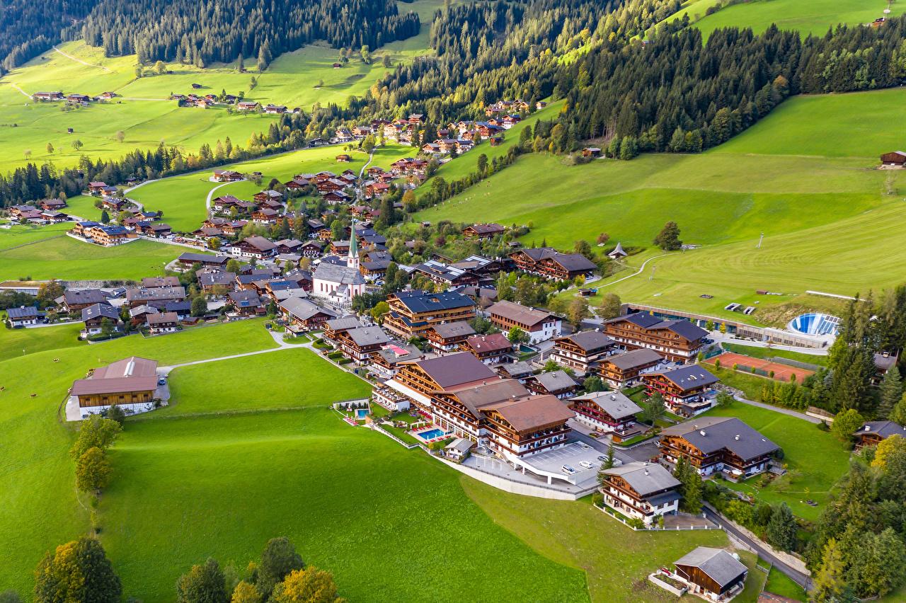 Photo Austria Alpbach Grasslands From above Houses Cities Meadow Building